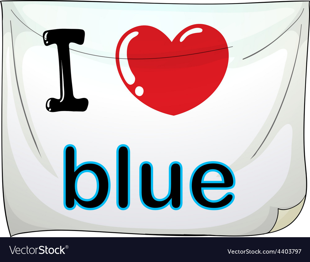 I love blue vector