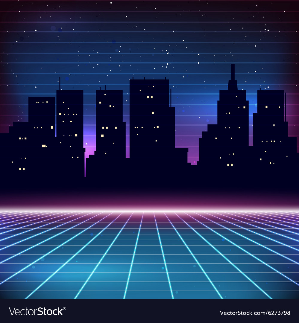 80s retro scifi background with city silhouette vector