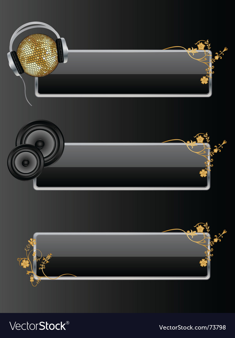 Audio style banners vector