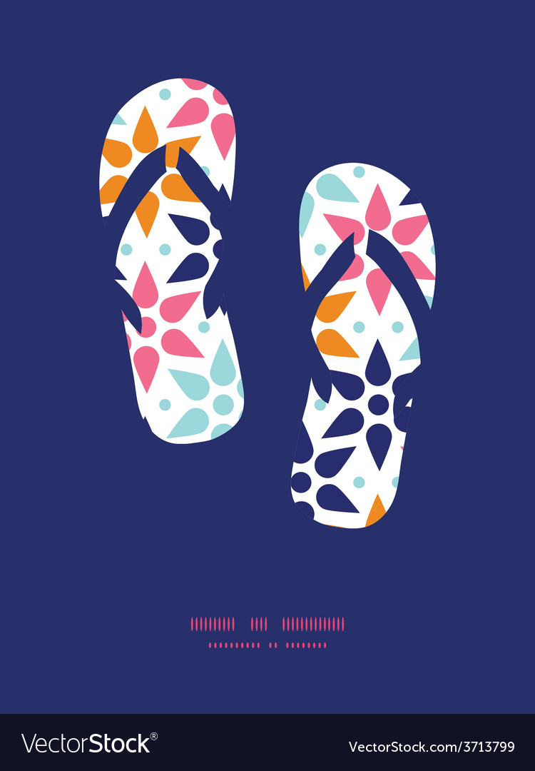 Abstract colorful stars flip flops vector