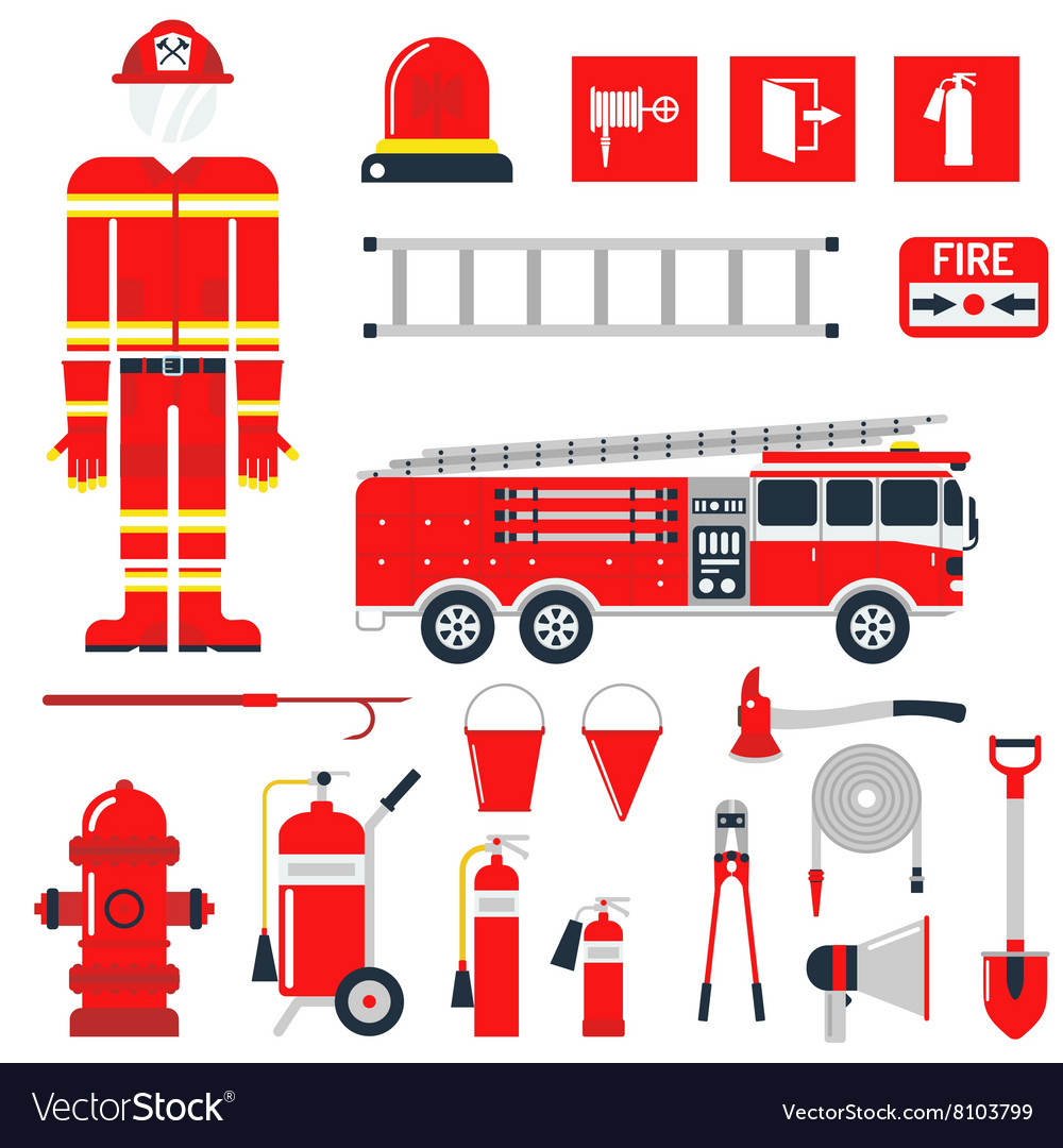 Set firefighter fire safety flat icons and vector