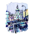original marker urban sketch on paper of Kyiv vector image vector image