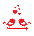 Love birds with red hearts vector image vector image