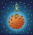 green robot technology moon galaxy vector image