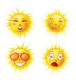 sun smiles cartoon emoticons and summer emoji vector image