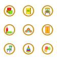 kindergarten icons set cartoon style vector image