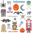 Set of icons on halloween theme vector image
