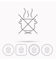 Boiling saucepan icon Do not boil water sign vector image