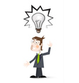Man with Bulb Cartoon Man in Suit with Big Bulb vector image