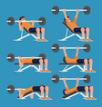 set of man in weight training chest workout poses vector image
