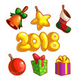set of new year ornaments vector image
