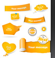 Set of orange labels and paper badges vector image