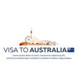 visa to australia travel to australia document vector image