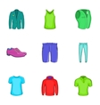 Types of clothes icons set cartoon style vector image