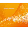 Abstract orange background with snowflakes and vector image