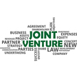 word cloud joint venture vector image vector image