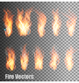 Set of transparent flame vector image vector image