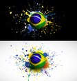 brazil flag with soccer ball dash on colorful vector image