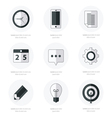 business Set of flat design icons Black Color Styl vector image