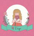 cute horoscope zodiac girl virgo vector image