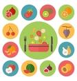 Fruit icons food set for cooking restaurant menu vector image