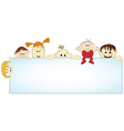 group of happy people holding empty banner - vector image