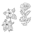 Vintage flowers set in retro style vector image