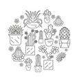 Cactuses and succulents icon set Houseplants Thin vector image