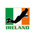 rugby playing diving try ireland flag vector image vector image