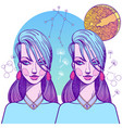 Girl symbolizes the zodiac sign gemini pastel vector image