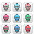Mexican sugar skull buttons with winter Nordic pat vector image