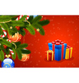 christmas card with fir mistletoe decoration and g vector image vector image