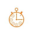 stylish sticker on paper Stopwatch and money vector image