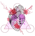 Zentangle stylized Human heart in triangle frame vector image