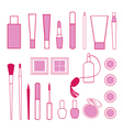 Beauty and care cosmetics red and pink white vector image