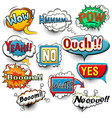 Bright comic speech bubbles screams phrases soun vector image