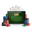 casino chips and mobile isolated on white vector image