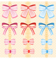 cute silky or satin lace ribbon or bow for vector image