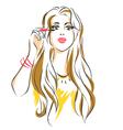 girl puts mascara on her eyelashes vector image
