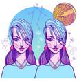 Girl symbolizes the zodiac sign gemini pastel vector image