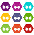 glasses for blind icon set color hexahedron vector image