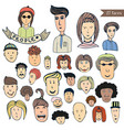 hand drawn people crowd doodle collection of vector image