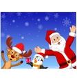 Happy cartoon Santa penguin and deer vector image