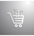 Shopping Cart Basket Symbol with Gift Box vector image