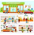 supermarket infographic elements flat vector image