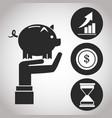 hand holding piggy money chart dollar banking vector image