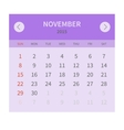 Calendar monthly november 2015 in flat design vector image vector image