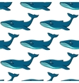 Smiling cartooned blue whales seamless background vector image vector image