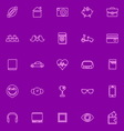 Personal data line icons pink color vector image