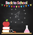 Back to school Table books apple bulb drawing on vector image